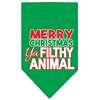 Mirage Pet Products Ya Filthy Animal Screen Print Pet Bandana Emerald Green Size Small