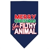 Mirage Pet Products Ya Filthy Animal Screen Print Pet Bandana Navy Size Large