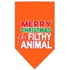 Mirage Pet Products Ya Filthy Animal Screen Print Pet Bandana Orange Size Small
