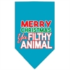 Mirage Pet Products Ya Filthy Animal Screen Print Pet Bandana Turquoise Size Large