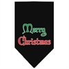 Mirage Pet Products Merry Christmas Screen Print Bandana Black Large
