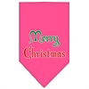 Mirage Pet Products Merry Christmas Screen Print Bandana Bright Pink Small