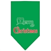 Mirage Pet Products Merry Christmas Screen Print Bandana Emerald Green Large