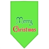 Mirage Pet Products Merry Christmas Screen Print Bandana Lime Green Large