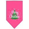 Mirage Pet Products Scribble Merry Christmas Screen Print Bandana Bright Pink Large