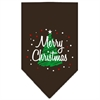 Mirage Pet Products Scribble Merry Christmas Screen Print Bandana Cocoa Large