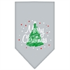 Mirage Pet Products Scribble Merry Christmas Screen Print Bandana Grey Large