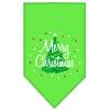 Mirage Pet Products Scribble Merry Christmas Screen Print Bandana Lime Green Large
