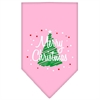 Mirage Pet Products Scribble Merry Christmas Screen Print Bandana Light Pink Large