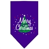 Mirage Pet Products Scribble Merry Christmas Screen Print Bandana Purple Large