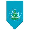 Mirage Pet Products Scribble Merry Christmas Screen Print Bandana Turquoise Large