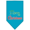 Mirage Pet Products Merry Christmas Screen Print Bandana Turquoise Large