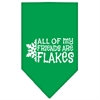 Mirage Pet Products All my friends are Flakes Screen Print Bandana Emerald Green Large