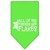 Mirage Pet Products All my friends are Flakes Screen Print Bandana Lime Green Large