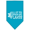 Mirage Pet Products All my friends are Flakes Screen Print Bandana Turquoise Large