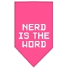 Mirage Pet Products Nerd is the Word Screen Print Bandana Bright Pink Large