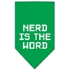 Mirage Pet Products Nerd is the Word Screen Print Bandana Emerald Green Large