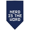 Mirage Pet Products Nerd is the Word Screen Print Bandana Navy Blue Small