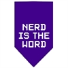 Mirage Pet Products Nerd is the Word Screen Print Bandana Purple Small