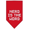 Mirage Pet Products Nerd is the Word Screen Print Bandana Red Large