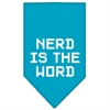 Mirage Pet Products Nerd is the Word Screen Print Bandana Turquoise Small