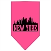 Mirage Pet Products New York Skyline Screen Print Bandana Bright Pink Large