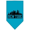 Mirage Pet Products New York Skyline Screen Print Bandana Turquoise Small