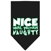 Mirage Pet Products Nice until proven Naughty Screen Print Pet Bandana Black Size Large
