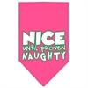 Mirage Pet Products Nice until proven Naughty Screen Print Pet Bandana Bright Pink Size Large