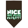 Mirage Pet Products Nice until proven Naughty Screen Print Pet Bandana Cocoa Size Large