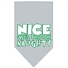 Mirage Pet Products Nice until proven Naughty Screen Print Pet Bandana Grey Size Large