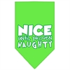 Mirage Pet Products Nice until proven Naughty Screen Print Pet Bandana Lime Green Size Large