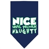 Mirage Pet Products Nice until proven Naughty Screen Print Pet Bandana Navy Size Large