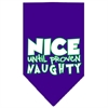 Mirage Pet Products Nice until proven Naughty Screen Print Pet Bandana Purple Size Large