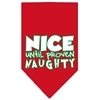 Mirage Pet Products Nice until proven Naughty Screen Print Pet Bandana Red Size Large