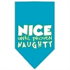 Mirage Pet Products Nice until proven Naughty Screen Print Pet Bandana Turquoise Size Large