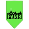 Mirage Pet Products Paris Skyline Screen Print Bandana Lime Green Small