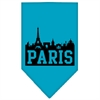 Mirage Pet Products Paris Skyline Screen Print Bandana Turquoise Large
