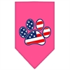 Mirage Pet Products Patriotic Paw Screen Print Bandana Bright Pink Small