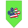 Mirage Pet Products Patriotic Paw Screen Print Bandana Lime Green Small