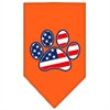 Mirage Pet Products Patriotic Paw Screen Print Bandana Orange Small