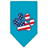 Mirage Pet Products Patriotic Paw Screen Print Bandana Turquoise Small
