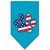 Mirage Pet Products Patriotic Paw Screen Print Bandana Turquoise Large