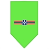 Mirage Pet Products Patriotic Star Paw Screen Print Bandana Lime Green Large