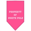 Mirage Pet Products Property of North Pole Screen Print Bandana Bright Pink Large