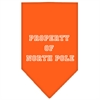 Mirage Pet Products Property of North Pole Screen Print Bandana Orange Large