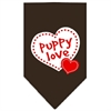 Mirage Pet Products Puppy Love Screen Print Bandana Cocoa Small