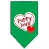 Mirage Pet Products Puppy Love Screen Print Bandana Emerald Green Large