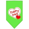 Mirage Pet Products Puppy Love Screen Print Bandana Lime Green Large