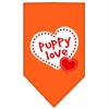 Mirage Pet Products Puppy Love Screen Print Bandana Orange Large